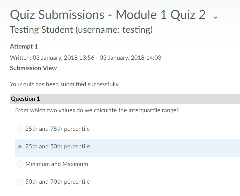 Screen shot of the confirmation page after you have submitted a quiz.
