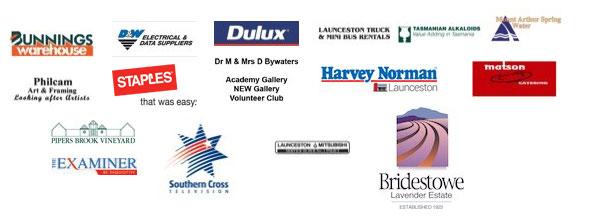 Gallery Partner Logos | Bunnings, D&W Electric & Data Suppliers, Dulux, Launceston Truck & Mini Bus Rentals, Tasmanian Alkaloids, Mount Arthur Spring Water, Philcam Art & Framing, Staples, Dr M & Mrs D Bywaters - Academy Gallery - New gallery - Volunteers Club, Harvey Norman, Matson Catering, Pipers Brook Vineyard, The Examiner, Southern Cross Television, Launceston Mitsubishi, Bridestowe Lavender Estate