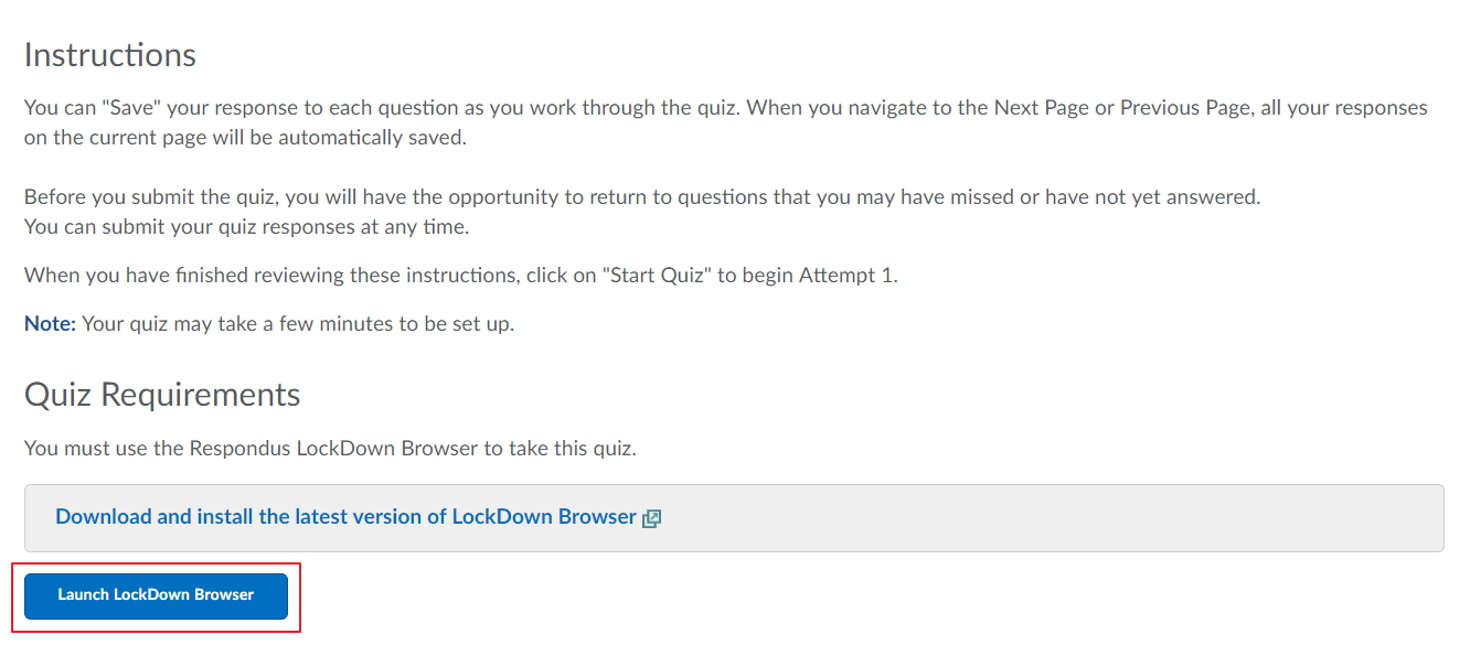 Click on Launch LockDown Browser